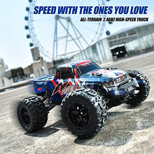 513rFg4qSjL. AC  - BEZGAR 7 Hobby Grade 1:16 Scale Remote Control Truck, 4WD High Speed 40+ Kmh All Terrains Electric Toy Off Road RC Monster Vehicle Car Crawler with Rechargeable Batteries for Boys Kids and Adults