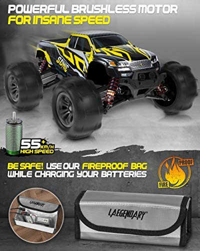 514D604P2TL. AC  - 1:16 Brushless Large RC Cars 55+ kmh Speed - Kids and Adults Remote Control Car 4x4 Off Road Monster Truck Electric - All Terrain Waterproof Toys Trucks for Boys, Girls - 2 Batteries for 40+ Min Play