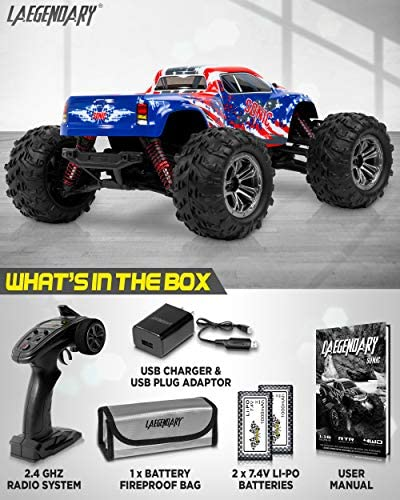 515OXxcj7QL. AC  - 1:16 Scale Large RC Cars 36+ kmh Speed - Boys Remote Control Car 4x4 Off Road Monster Truck Electric - All Terrain Waterproof Toys Trucks for Kids and Adults - 2 Batteries + Connector for 40+ Min Play