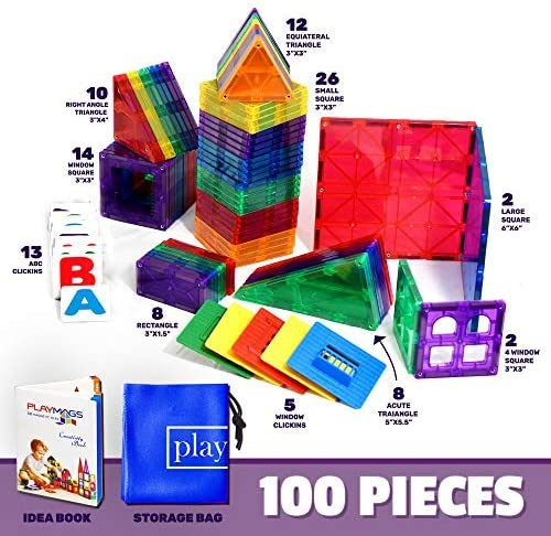 515tA0z5o5L. AC  - Playmags 3D Magnetic Blocks for Kids Set of 100 Blocks to Learn Shapes, Colors, & Alphabet STEM Magnetic Toys Develop Motor Skills&Creativity-Colorful, Durable Magnet Building Tiles & Idea Book