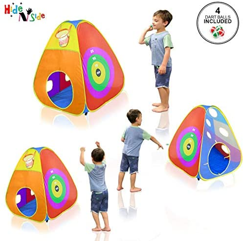 516+lh+bv2L. AC  - Gift for Toddler Boys & Girls, Ball Pit, Play Tent and Tunnels for Kids, Best Birthday Gift for 1 2 3 4 5 Year old Pop Up Baby Play Toy, Target Game w/ 4 Darts Indoor & Outdoor, Pit Balls Not Included