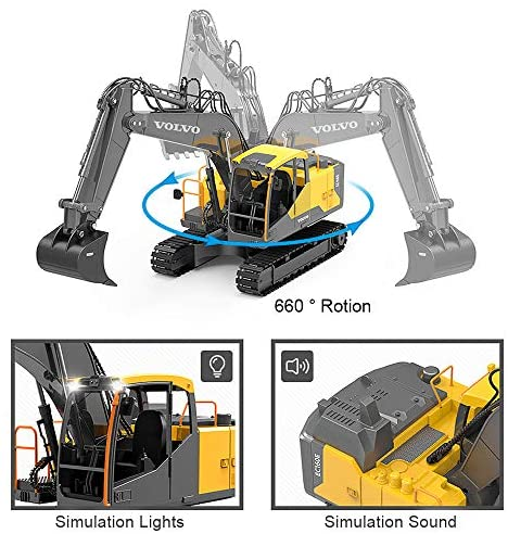 516 ZTJiJtL. AC  - Mostop 3 in 1 Remote Control Excavator with 2 Tools 2.4G Construction Truck with Sounds 660 ° Rotation Toy for Kids