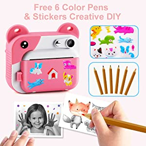 51609851 a3e6 4c5b 8453 ad72cde76d03.  CR0,0,600,600 PT0 SX300 V1    - PROGRACE Kids Print Camera Instant Print Camera for Kids Travel Learning Birthday Gift Portable Digital Creative Print Camera for Girls Zero Ink Kids Camera Toy Toddler Camera with Print Paper(Pink)
