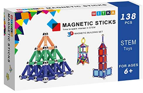 516PIxHsqgL. AC  - WITKA 350 Pieces Magnetic Building Sticks Blocks Toy Brain Training STEM Toys Intelligence Learning Games Set Gift for Kids