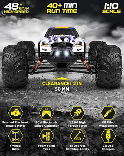 516Xul2C5kL. AC  - 1:10 Scale Large RC Cars 48+ kmh Speed - Boys Remote Control Car 4x4 Off Road Monster Truck Electric - All Terrain Waterproof Toys Trucks for Kids and Adults - 2 Batteries + Connector for 40+ Min Play