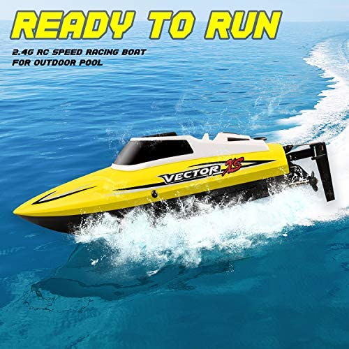 518YUQWhGzL. AC  - YEZI Remote Control Boat for Pools & Lakes,Udi001 Venom Fast RC Boat for Kids & Adults,Self Righting Remote Controlled Boat W/Extra Battery (Yellow)