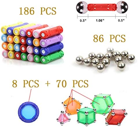 519Lrz1Sm8L. AC  - WITKA 350 Pieces Magnetic Building Sticks Blocks Toy Brain Training STEM Toys Intelligence Learning Games Set Gift for Kids