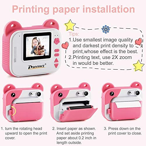 519lHWXta6L. AC  - PROGRACE Kids Print Camera Instant Print Camera for Kids Travel Learning Birthday Gift Portable Digital Creative Print Camera for Girls Zero Ink Kids Camera Toy Toddler Camera with Print Paper(Pink)