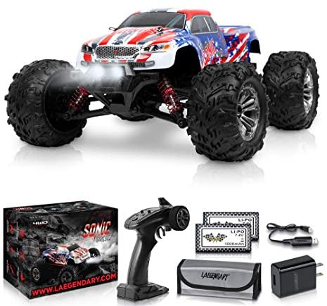 51AYEHYAd L. AC  - 1:16 Scale Large RC Cars 36+ kmh Speed - Boys Remote Control Car 4x4 Off Road Monster Truck Electric - All Terrain Waterproof Toys Trucks for Kids and Adults - 2 Batteries + Connector for 40+ Min Play