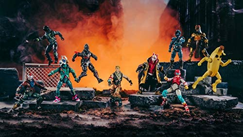 """51AZdrgq+hL. AC  - Fortnite The Chapter 1 Collection - Ten 4"""" Action Figures, Featuring Recruit (Jonesy), Black Knight, Rust Lord, The Visitor, Drift, DJ Yonder, Ice King (Gold), Peely, Rox, Eternal Voyager"""