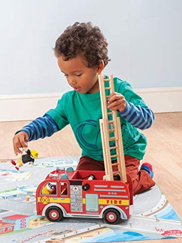 51BTBaJ5EqL. AC  - Le Toy Van Cars & Construction Collection Wooden Fire Engine Set Premium Wooden Toys for Kids Ages 3 Years & Up, Multi