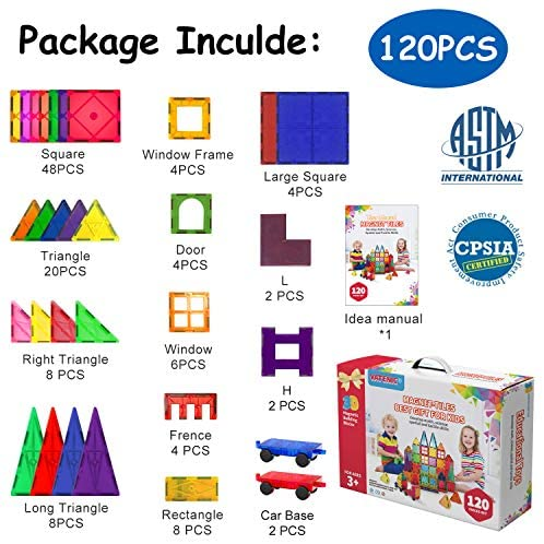 51BbwFiQ2bL. AC  - VATENIC 120PCS Kids Magnetic Tiles Building Blocks 2 Car Set Color Magnetic Blocks Toys for Kids Children,Educational Learning Building Toys Birthday Gifts for Boys Girls Age 3 4 5 6 7 8 9 10 Year Old