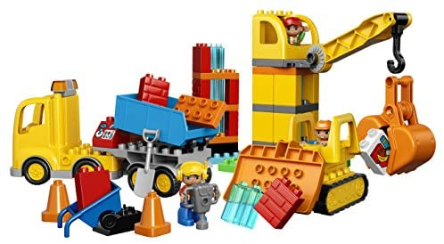 51BpMdVU+kL. AC  - LEGO DUPLO Big Construction Site 10813 Building Set with Toy Dump Truck, Toy Crane and Toy Bulldozer for a Complete Toddler Construction Toy Set (67 Pieces)