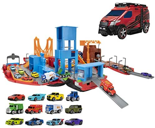 51CdFgJC8pL. AC  - Micro Machines Super Van City Playset - Includes 12 MM Vehicles, Working Bridge, Construction Site, High Rise Building, Drag Strip, Ramps - Collect Them All - Amazon Exclusive
