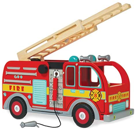 51CgLxdfbqL. AC  - Le Toy Van Cars & Construction Collection Wooden Fire Engine Set Premium Wooden Toys for Kids Ages 3 Years & Up, Multi