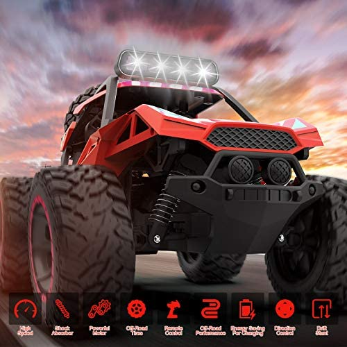 51Dbs Q6UsL. AC  - RC Cars Remote Control Car 1:12 High Speed 25 Km/h Rechargeable Monster Truck Remote Control with LED Light 2.4Ghz 2WD Powerful Motor Off Road Rock Crawler Vehicle Toys Cars for Boys Girls Kids, Red