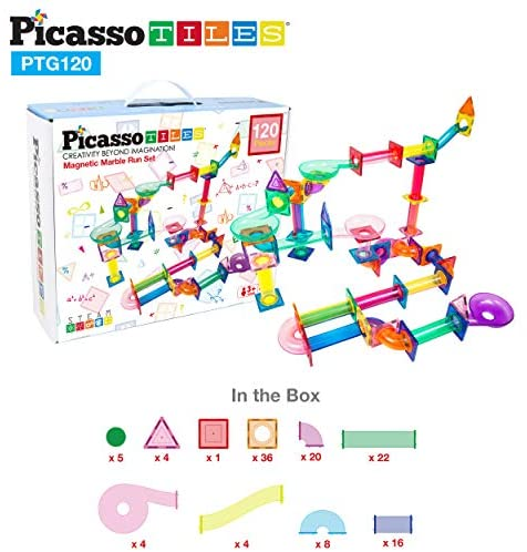 51Dwn70V3PL. AC  - PicassoTiles Marble Run 120 Piece Magnetic Building Blocks Magnet Tile Construction Toy Playset STEM Learning Educational Block Child Brain Development Kids Toys for Boys and Girls Age 3 and Up