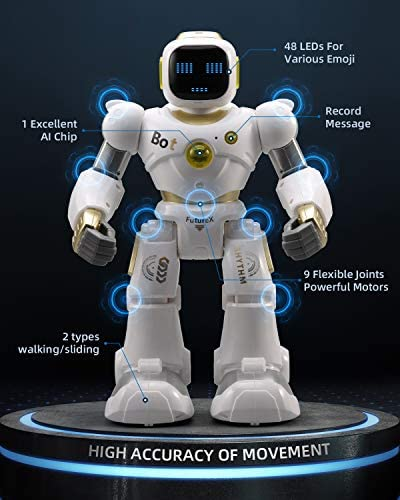 51E2CkOvE L. AC  - Ruko AI Robots for Kids, Large Programmable RC Robot Toy with APP Control Voice Command Touch Response Bluetooth Speaker Emoji for 3-12 Years Old Boys Girls (Golden)