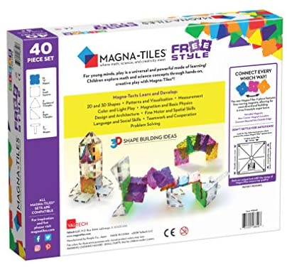 51EATyV+vWL. AC  - Magna-Tiles Freestyle Set, The Original Magnetic Building Tiles For Creative Open-Ended Play, Educational Toys For Children Ages 3 Years + (40 Pieces)