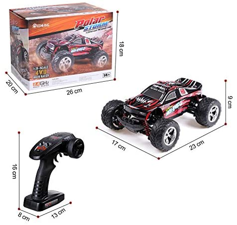 51Ef+5E7ZRL. AC  - EACHINE Remote Control Car for Kids Adults,EC09 RC Car High Speed 1:20Scale 40+ KM/H 4WD Off Road Monster Trucks,2.4GHz All Terrain Toy Trucks with 2 Rechargeable Battery,40+ Min Play Gifts for Boys