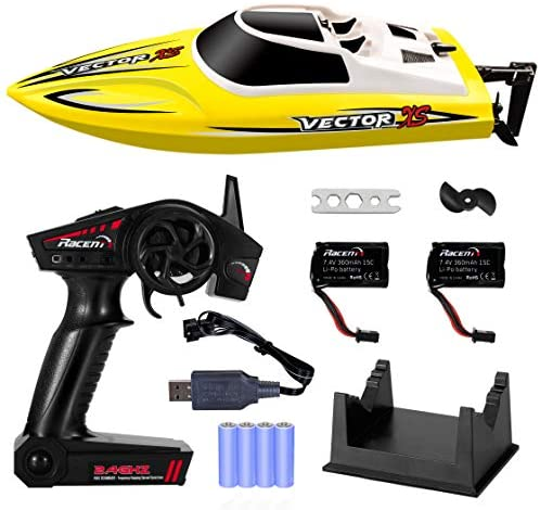 51GEwZyU7KL. AC  - YEZI Remote Control Boat for Pools & Lakes,Udi001 Venom Fast RC Boat for Kids & Adults,Self Righting Remote Controlled Boat W/Extra Battery (Yellow)