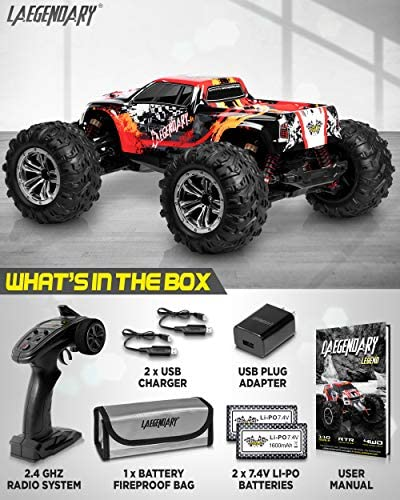 51GLpCJffiL. AC  - 1:10 Scale Large RC Cars 48+ kmh Speed - Boys Remote Control Car 4x4 Off Road Monster Truck Electric - All Terrain Waterproof Toys Trucks for Kids and Adults - 2 Batteries + Connector for 40+ Min Play