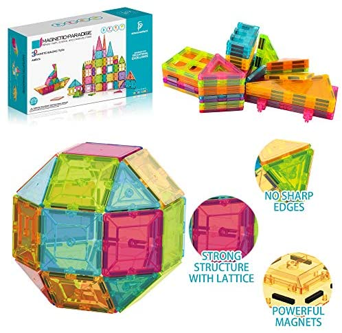 51Gx+SIhUoL. AC  - Sinceroduct Magnetic Tiles Building Blocks 124pcs Set for Kids, 3D Educational Building Toys for Boys Girls, Develop Tactile Skills, Creativity, Sense of Color, Math