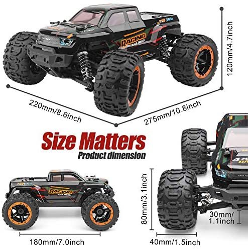 51HAki9BW5L. AC  - Remote Control Car 16889, 1:16 Scale 2.4Ghz RC Cars 4x4 Off Road Trucks, Waterproof RTR RC Monster Truck 36KM/H, Remote Controlled Toys for Kids and Adults with 2 Batteries 35+ mins Play