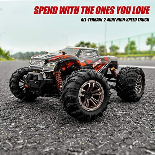 51I1OG66XeL. AC  - BEZGAR 5 Hobby Grade 1:20 Scale Remote Control Truck, 4WD High Speed 30+ Kmh All Terrains Electric Toy Off Road RC Monster Vehicle Car Crawler with Rechargeable Batteries for Boys Kids and Adults