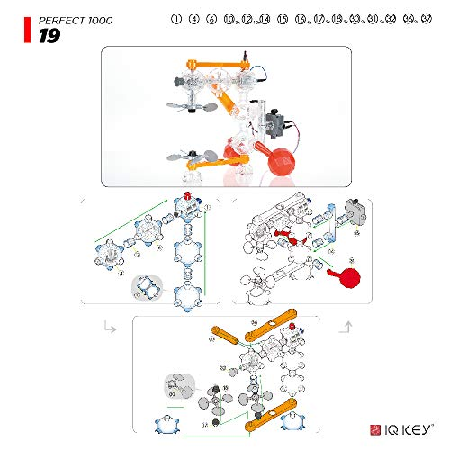 51IPSD1o24L - IQ-KEY Perfect 1000 – STEM Educational Assembly Toy Kits, Creative Construction Engineering Builder Set for Kids [40 Models]