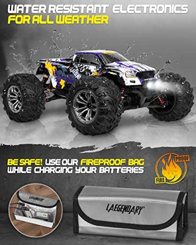 51JrkP1rQqL. AC  - 1:10 Scale Large RC Cars 48+ kmh Speed - Boys Remote Control Car 4x4 Off Road Monster Truck Electric - All Terrain Waterproof Toys Trucks for Kids and Adults - 2 Batteries + Connector for 40+ Min Play