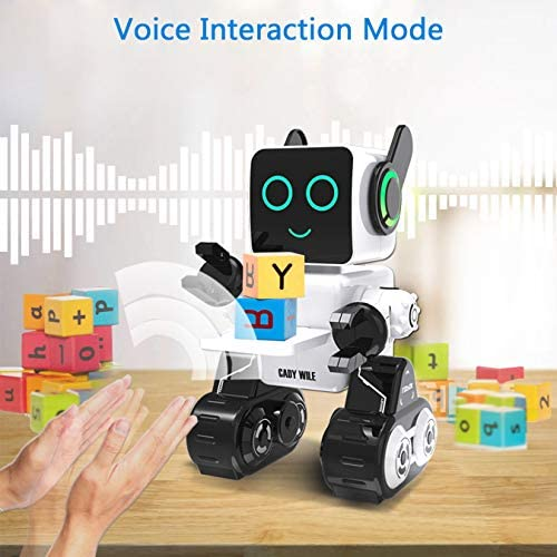 51K0Xj09YcL. AC  - Robots for Kids, Remote Control Robot Toy Intelligent Interactive Robot LED Light Speaks Dance Moves Built-in Coin Bank Programmable Rechargeable RC Robot Kit (White)