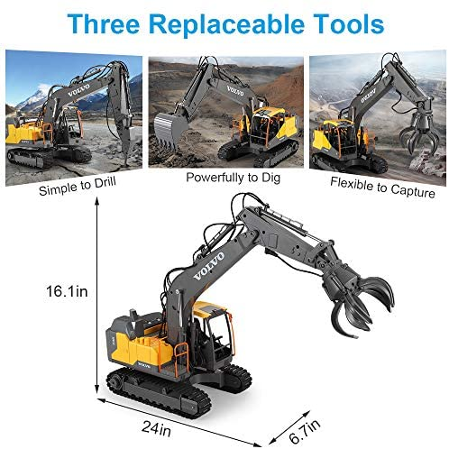 51LDiGiwMgL. AC  - Mostop 3 in 1 Remote Control Excavator with 2 Tools 2.4G Construction Truck with Sounds 660 ° Rotation Toy for Kids