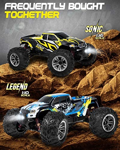 51LHyuQhwcL. AC  - 1:16 Brushless Large RC Cars 55+ kmh Speed - Kids and Adults Remote Control Car 4x4 Off Road Monster Truck Electric - All Terrain Waterproof Toys Trucks for Boys, Girls - 2 Batteries for 40+ Min Play