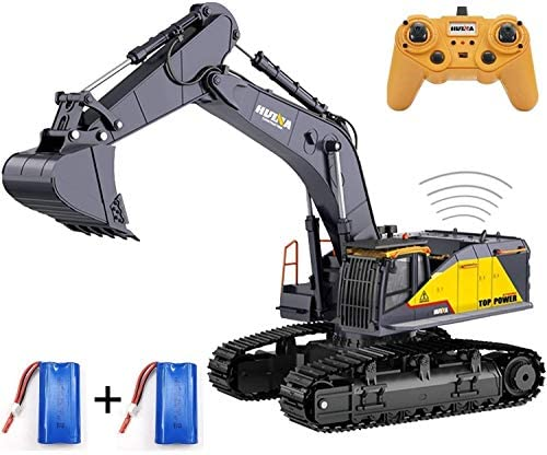 51Lprt pV2L. AC  - HUINA 1592 Fully Functional 1:14 Scale 22 Channel Remote Control Excavator RC Toy Truck Construction Vehicle with Metal Bucket and LED Lights and Simulating Sounds – 2 Rechargeable Batteries