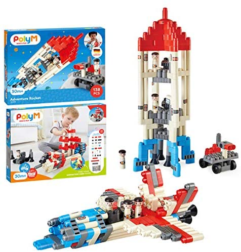 51M gCFGNbL. AC  - Hape PolyM Space Adventure Rocket Construction Kit | 138 Piece Building Brick Toy Play Set for Kids - Figurines and Accessories Included