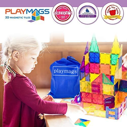 51MBD2RUI0L. AC  - Playmags 3D Magnetic Blocks for Kids Set of 100 Blocks to Learn Shapes, Colors, & Alphabet STEM Magnetic Toys Develop Motor Skills&Creativity-Colorful, Durable Magnet Building Tiles & Idea Book