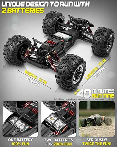 51MiWvctxgL. AC  - 1:10 Scale Large RC Cars 48+ kmh Speed - Boys Remote Control Car 4x4 Off Road Monster Truck Electric - All Terrain Waterproof Toys Trucks for Kids and Adults - 2 Batteries + Connector for 40+ Min Play