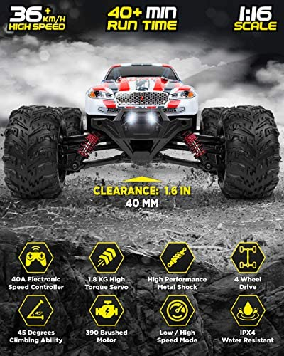 51Mm5BRGFxL. AC  - 1:16 Scale Large RC Cars 36+ kmh Speed - Boys Remote Control Car 4x4 Off Road Monster Truck Electric - All Terrain Waterproof Toys Trucks for Kids and Adults - 2 Batteries + Connector for 40+ Min Play