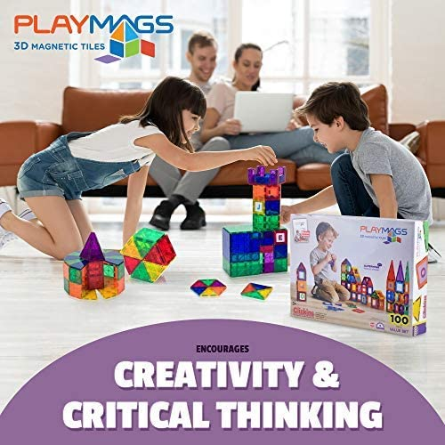 51NQ4kuFy6L. AC  - Playmags 3D Magnetic Blocks for Kids Set of 100 Blocks to Learn Shapes, Colors, & Alphabet STEM Magnetic Toys Develop Motor Skills&Creativity-Colorful, Durable Magnet Building Tiles & Idea Book