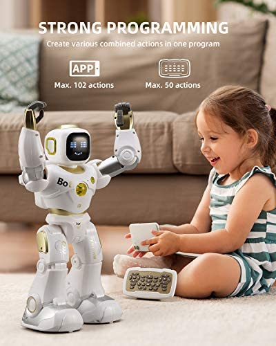 51NWEcfh sL. AC  - Ruko AI Robots for Kids, Large Programmable RC Robot Toy with APP Control Voice Command Touch Response Bluetooth Speaker Emoji for 3-12 Years Old Boys Girls (Golden)