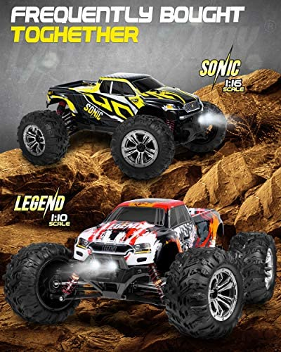 51NczkpzRKL. AC  - 1:10 Scale Large RC Cars 48+ kmh Speed - Boys Remote Control Car 4x4 Off Road Monster Truck Electric - All Terrain Waterproof Toys Trucks for Kids and Adults - 2 Batteries + Connector for 40+ Min Play