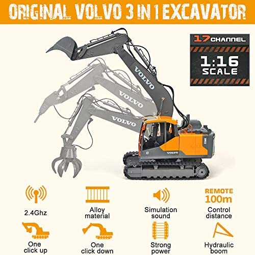 51Nv7ifkY9L. AC  - Volvo RC Excavator 3 in 1 Construction Truck Metal Shovel and Drill 17 Channel 1/16 Scale Full Functional with 2 Bonus Tools Hydraulic Electric Remote Control Excavator Construction Tractor