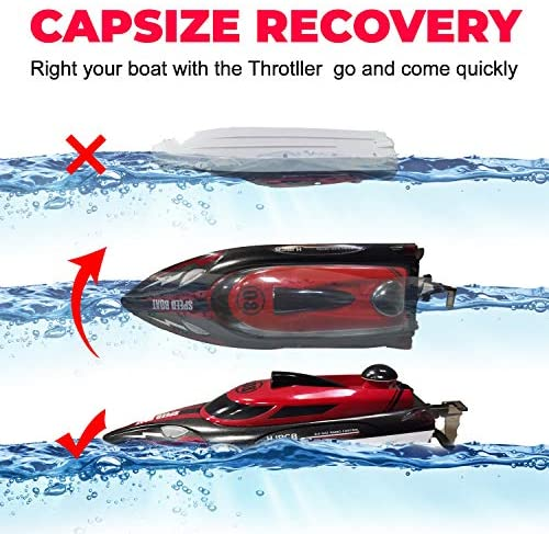 51OaDbCQllL. AC  - HONGXUNJIE 2.4Ghz RC Boat- 20+ MPH High Speed Remote Control Boat for Adults and Kids for Lakes and Pools with 2 Rechargeable Batteries, Low Battery Alarm, Capsize Recovery (RED)
