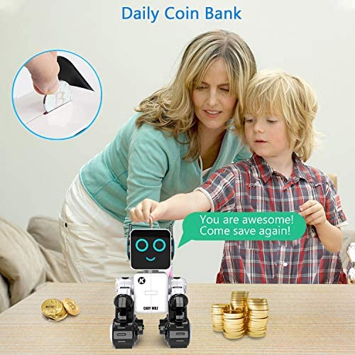 51RNJPX2MAL. AC  - Robots for Kids, Remote Control Robot Toy Intelligent Interactive Robot LED Light Speaks Dance Moves Built-in Coin Bank Programmable Rechargeable RC Robot Kit (White)