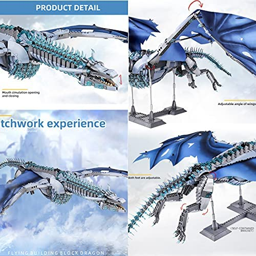 51RVPltHV3S. AC  - LEBLOCK Building Toys for Boys, Dragon Set Construction 1889 Pieces Building Bricks Blue Ice Dragon with Wings Engineering Toy Building Blocks Display Collection Great Gift for Adult