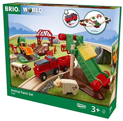 51RWNXSADcL. AC  - Brio 33984 Animal Farm Set   Wooden Toy Train Set for Kids Age 3 and Up