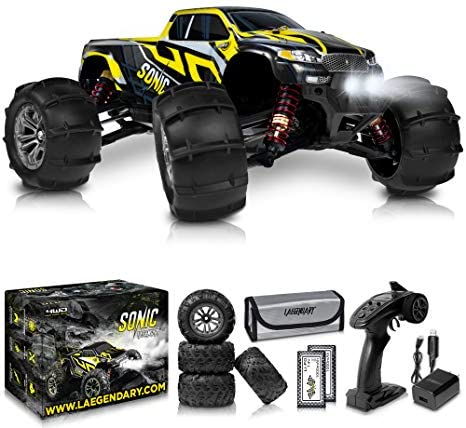 51RYknie61L. AC  - 1:16 Brushless Large RC Cars 55+ kmh Speed - Kids and Adults Remote Control Car 4x4 Off Road Monster Truck Electric - All Terrain Waterproof Toys Trucks for Boys, Girls - 2 Batteries for 40+ Min Play