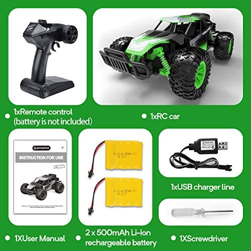 51Rbf2Z5HlL. AC  - Remote Control Car, Gizmovine 1:14 Scale Large Electric Drift RC Cars, High Speed Waterproof Race Cars for Boys Adults, 2.4GHz Off Road RC Trucks Buggy Toys with 2 Rechargeable Battery (Green)