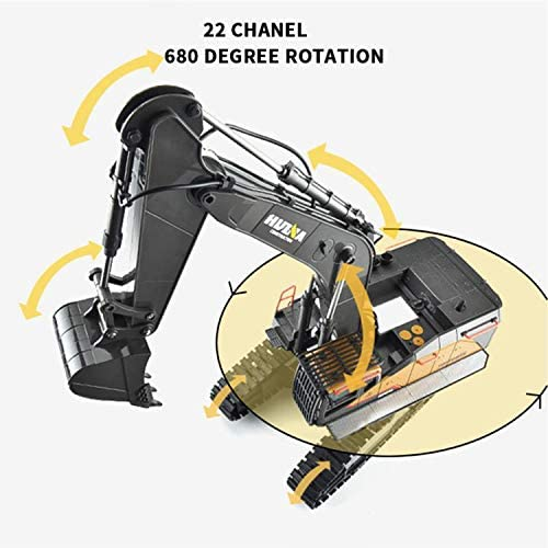 51RmUX48IBL. AC  - HUINA 1592 Fully Functional 1:14 Scale 22 Channel Remote Control Excavator RC Toy Truck Construction Vehicle with Metal Bucket and LED Lights and Simulating Sounds – 2 Rechargeable Batteries